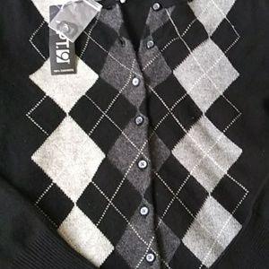 Apt. 9 Sweaters - Apt.9. Argyle 100% cashmere sweater black/gray